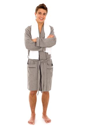 Man in bathrobe Stock Photo