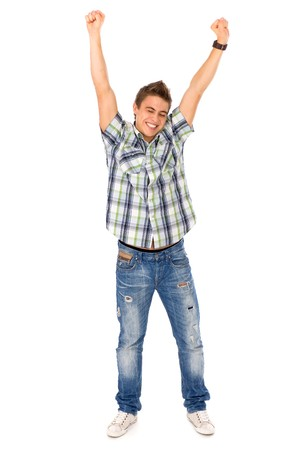 Young man with arms raised Stock Photo - 8016299