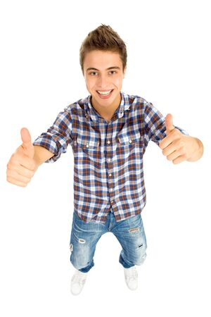Young Man With Thumbs Up Stock Photo - 8016318