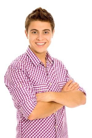 teenage guy: Young man with arms folded Stock Photo