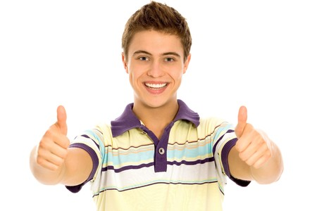 Young Man With Thumbs Up Stock Photo - 8016319