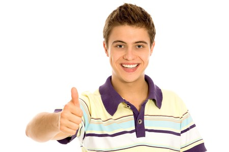 Young Man With Thumbs Up Stock Photo - 8016315