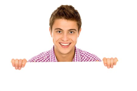 Young man holding blank paper photo