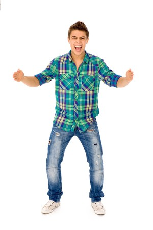 open arms: Young man gesturing