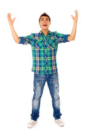 ni�o parado: Hombre joven con los brazos alzados