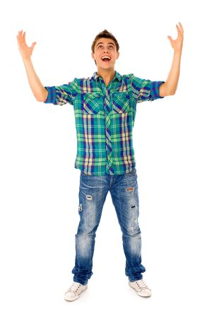 Young man with arms raised photo