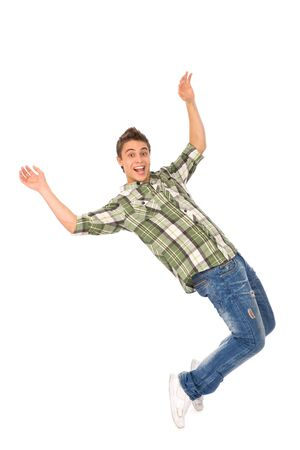 person falling: Young man about to fall