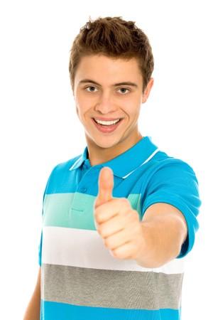 Jeune homme à coup de pouce de  Banque d'images