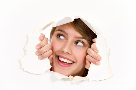 Looking through paper hole Stock Photo - 8097051