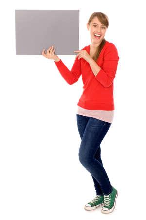 Girl holding banner add photo
