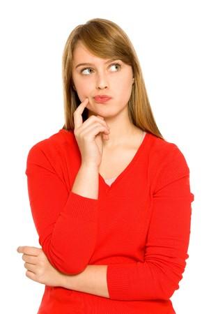 donna pensiero: Donna di pensare guardando