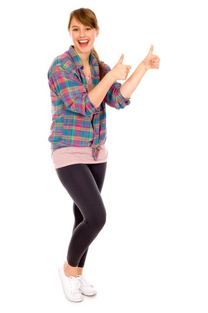 Girl showing thumbs up Stock Photo - 8179943