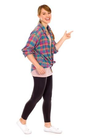 teenagers standing: Girl walking