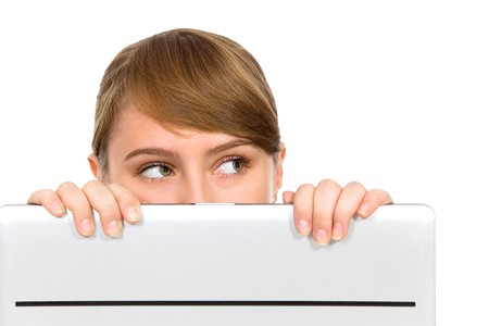 Girl Looking Behind Laptop Stock Photo - 8200300