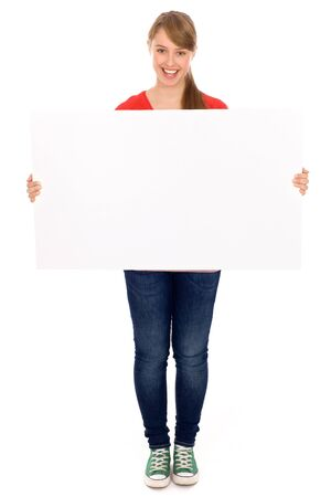 placards: Girl holding banner add