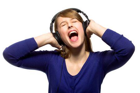 Girl listening to music photo