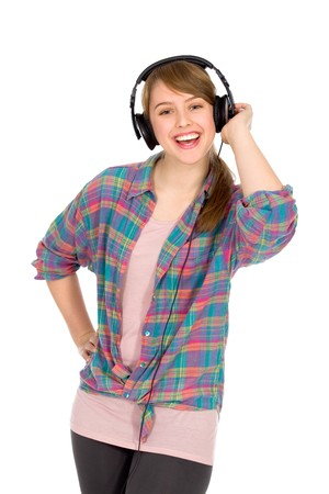 Casual girl wearing headphones photo