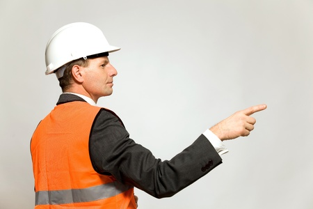 Construction worker pointing photo