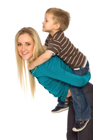 carry: Mother Giving Son Piggyback Ride Stock Photo