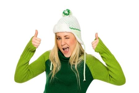 Woman wearing winter hat photo