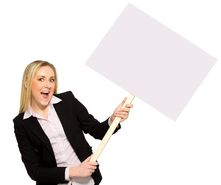 Businesswoman holding blank poster Stock Photo - 8735164