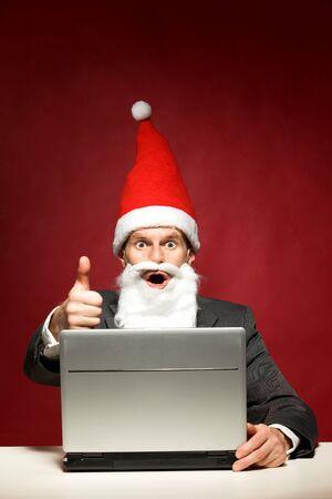 Santa with laptop photo