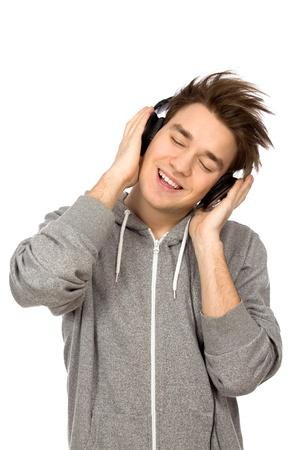 cool boy: Young man enjoying music