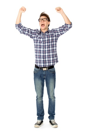clenching fists: Young man clenching fists and shouting Stock Photo