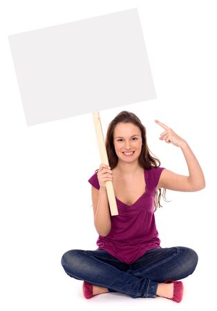 Attractive woman holding blank poster photo