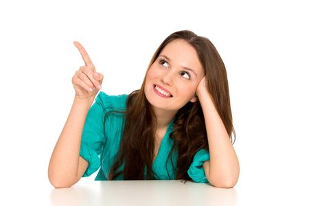 Young woman pointing finger Stock Photo - 8951626
