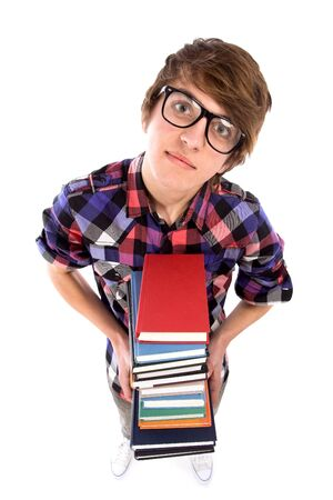 Student holding books photo