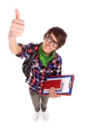 Male student showing thumbs up photo