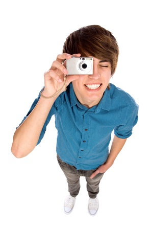Young man taking pictures