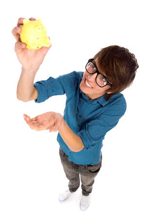 Young man holding piggy bank photo