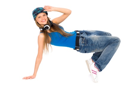 Girl break-dancing photo