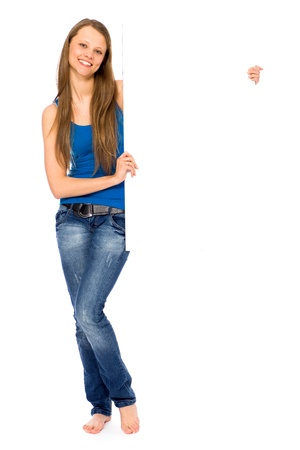 Girl holding blank placard Stock Photo - 9171819