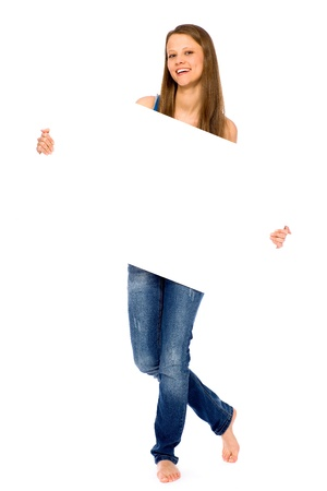 Girl holding blank placard Stock Photo - 9171812