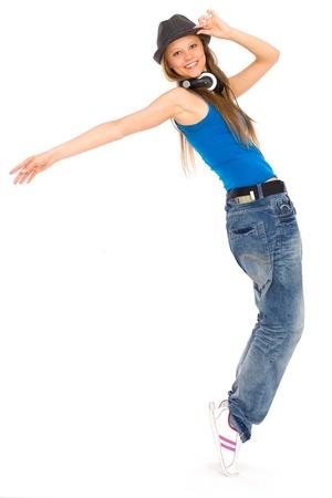 woman dancing: Girl dancing hip-hop