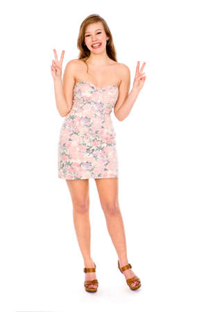 Woman Making Peace Sign photo