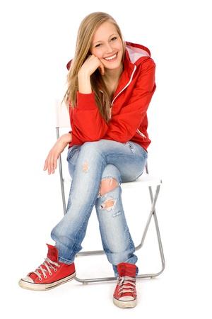 sitting on: Teenage girl sitting