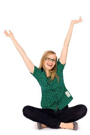 cheer full: Girl with arms raised