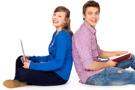 Happy students sitting Stock Photo - 9861174