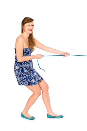 rope background: Girl pulling a rope