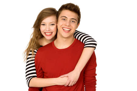 teenage love: Young Couple Embracing
