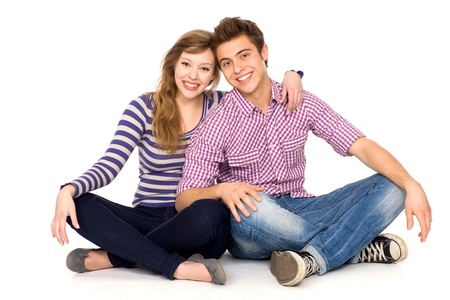 trendy girl: Young couple sitting