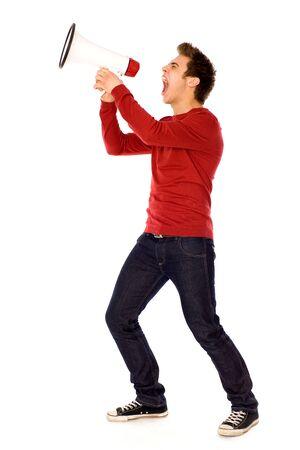 hombre megafono: Joven con meg�fono
