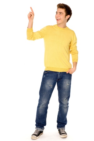 pointing up: Young man pointing finger Stock Photo