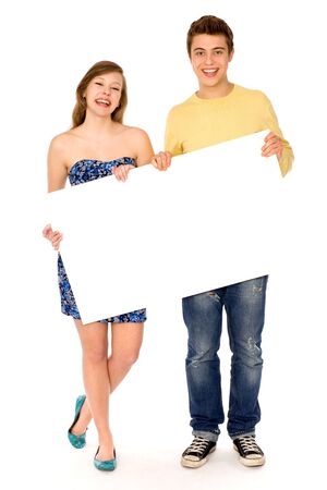 Couple holding blank poster Stock Photo