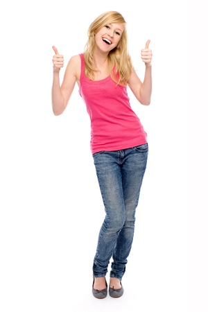 teenagers standing: Girl with thumbs up Stock Photo