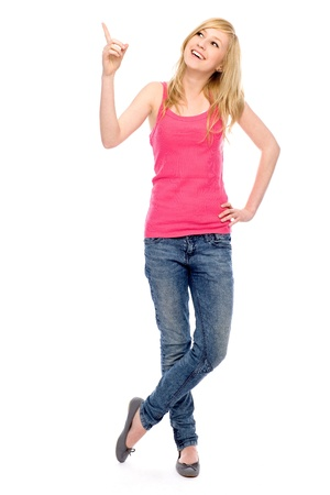 woman pointing up: Young woman pointing finger Stock Photo